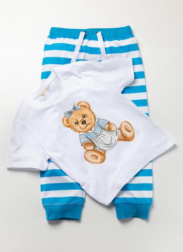 Katia & Bony Blue College Sweet Bear Kız Çocuk Pijama Takımı  Beyaz